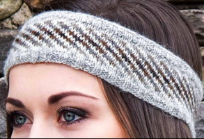 Head band in organic Shetland wool knitted and designed by Belle Gregson
